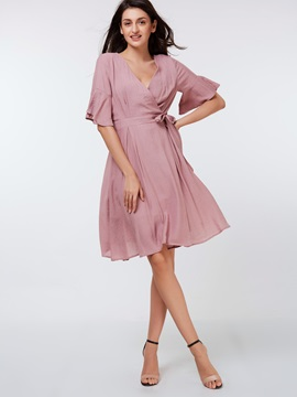 Flare Sleeve Falbala Lace-Up Women's Skater Dress