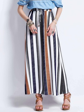 Color Block Stripe Print A-Line Skirt