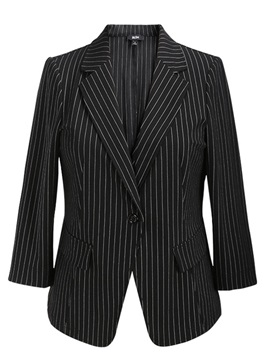 Stripe Notched Lapel One Button Blazer