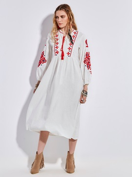 Bohoartist Round Neck Embroidery Lantern Sleeve Women's A-Line Dress