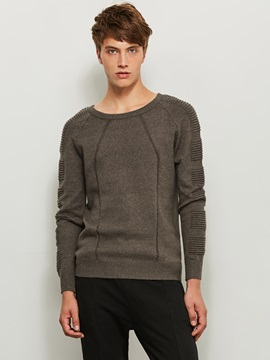 Round Neck Patchwork Solid Color Men's Pullover Men's Sweater
