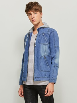 Hooded Patchwork Color Block Men's Denim Jacket