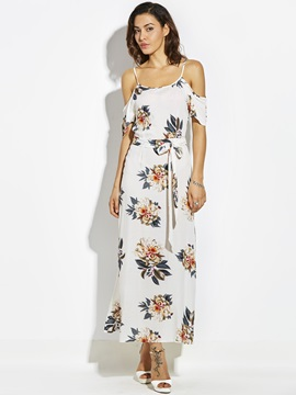 Tidebuy Floral Short Sleeves Spaghetti Straps Lateral Split Women's Maxi Dress