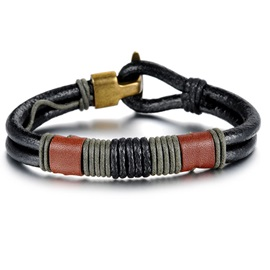 Color Block Patchwork Alloy Buckle Men's Bracelet