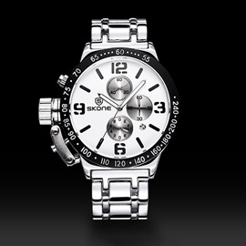 Three Eye Table Calendar Casual Alloy Men's Watch