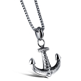 Punk Anchor Shape Titanium Steel Men's Necklace