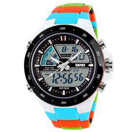Color Block Band Round Sport Watch