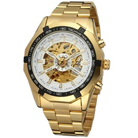 Fashion Golden Steel Band Men's Mechanical Watch