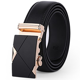Handsome Alloy Buckle Leather Embossed Men's Belt