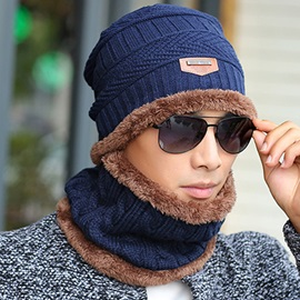 Warm Plush Knitted Cap with Collar