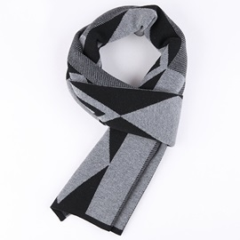 Simple Geometric Pattern Warm Men's Scarf