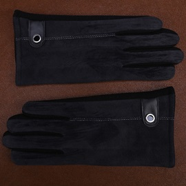 Simple Leather Warm Touch Screen Men's Gloves