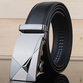 Black Leather Alloy Buckle Belt for Men