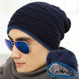 Double Layers Thicken Men's Knitted Hat