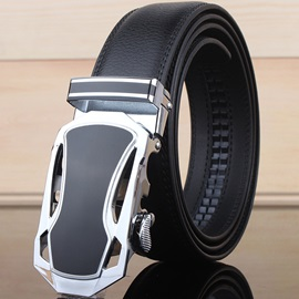 Automatic Buckle Hollow Design Leather Men's Belt