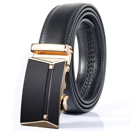 Leather Automatic Buckle Ratchet Design Men's Belt