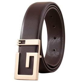 Golden Smooth Buckle 35mm Leather Men's Belt