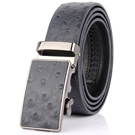 Ostrich Pattern Embossed Leather Design Men's Belt