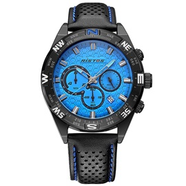 Blue Surface Design Round Waterproof Men's Watch