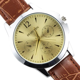 Brown Band Round Alloy Dial Men's Watch