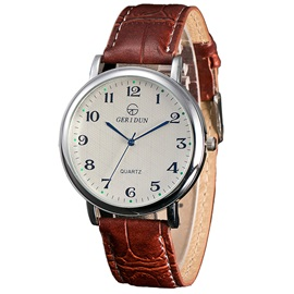 Leather Strip Silver Dial Men's Quartz Watch