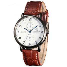 Leahter Band Analog Display Men's Quartz Watch