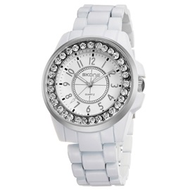 Imitation Diamond Dial Ceramic Band Men's Watch