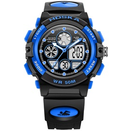 Blue Dial Black Band Men's Digital Watch
