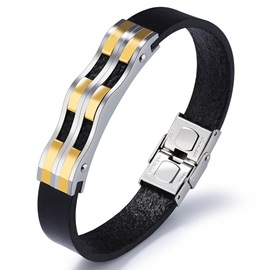 Punk Style Titanium Steel & Leather Men's Bracelet