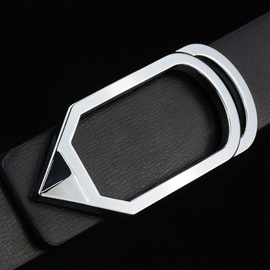 Geometric Alloy Leather Smooth Buckle Classical Men's Belts