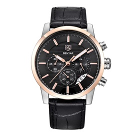 Three Eye Table Calendar Water Resistant Leather Quartz Men's Watches