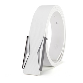 Pure White Metal Smooth Buckle Leather Casual Men's Belts