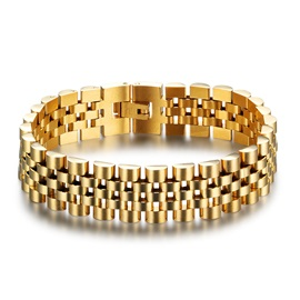 Golden Box Chain Stainless Steel European Men's Bracelets & Bangles