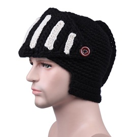 Winter Outdoor Woolen Yarn Charmeuse Rome Knight Mask Knitted Men's Hat