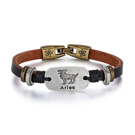 Aries Alloy Leather Couple Constellation Men's Bracelets