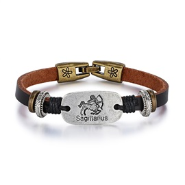 Sagittarius Alloy Leather Couple Constellation Men's Bracelets