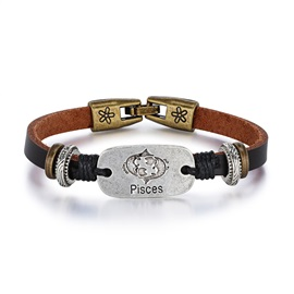 Pisces Alloy Leather Couple Constellation Men's Bracelets