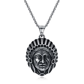 Link Chain Indian Silver Plated Maya Vintage Men's Necklace