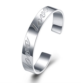 Silver Plated Opening Round Lettering Men's Bracelet