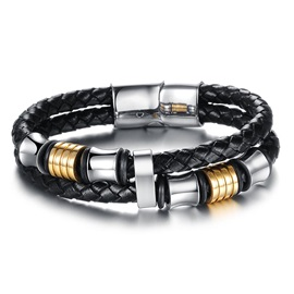 Unique Black Leather Weave Men's Bracelet