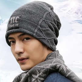 Letter Pattern Adjustable Casual Men's Knitted Hat