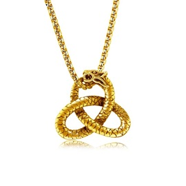 Ethnic Golden Serpentine Jack Chain Men's Necklace