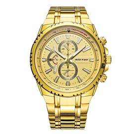 Golden Business Waterproof Solid Stainless Steel Men's Watch