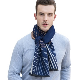 Stripe with Polka Dots Design Imitation Cashmere Men's Scarfs