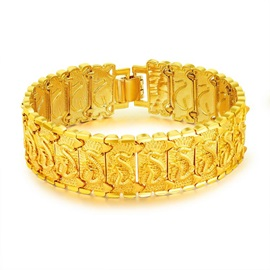 African 18K Gold Plated Bronze Dragon Texture Men's Bracelets
