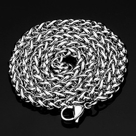 Silver Titanium Steel Men's Chain Necklace