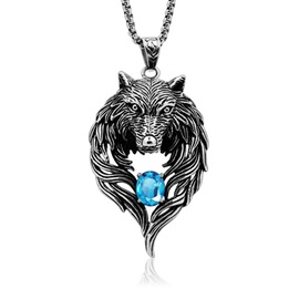 Wolf Shape Gemstone Decorated Men's Necklace