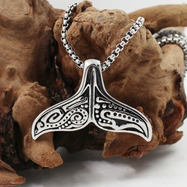 The Whale's Tail Shape Titanium Steel Men's Pendent Necklace