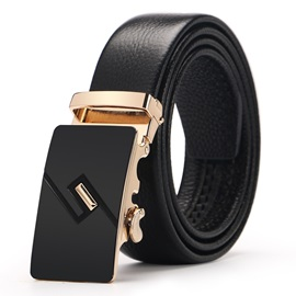 Business Golden Metal Automatic Buckle PU Men's Belt
