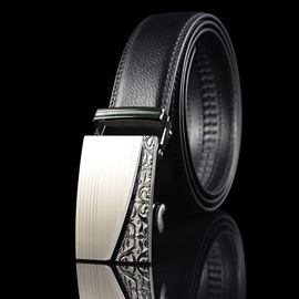 New Style Automatic Buckle Cowhide PU Thread Men's Belt